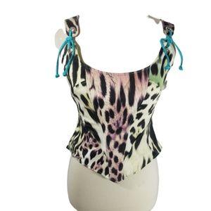 Just Cavalli Mixed Animal Print corset top sz 44